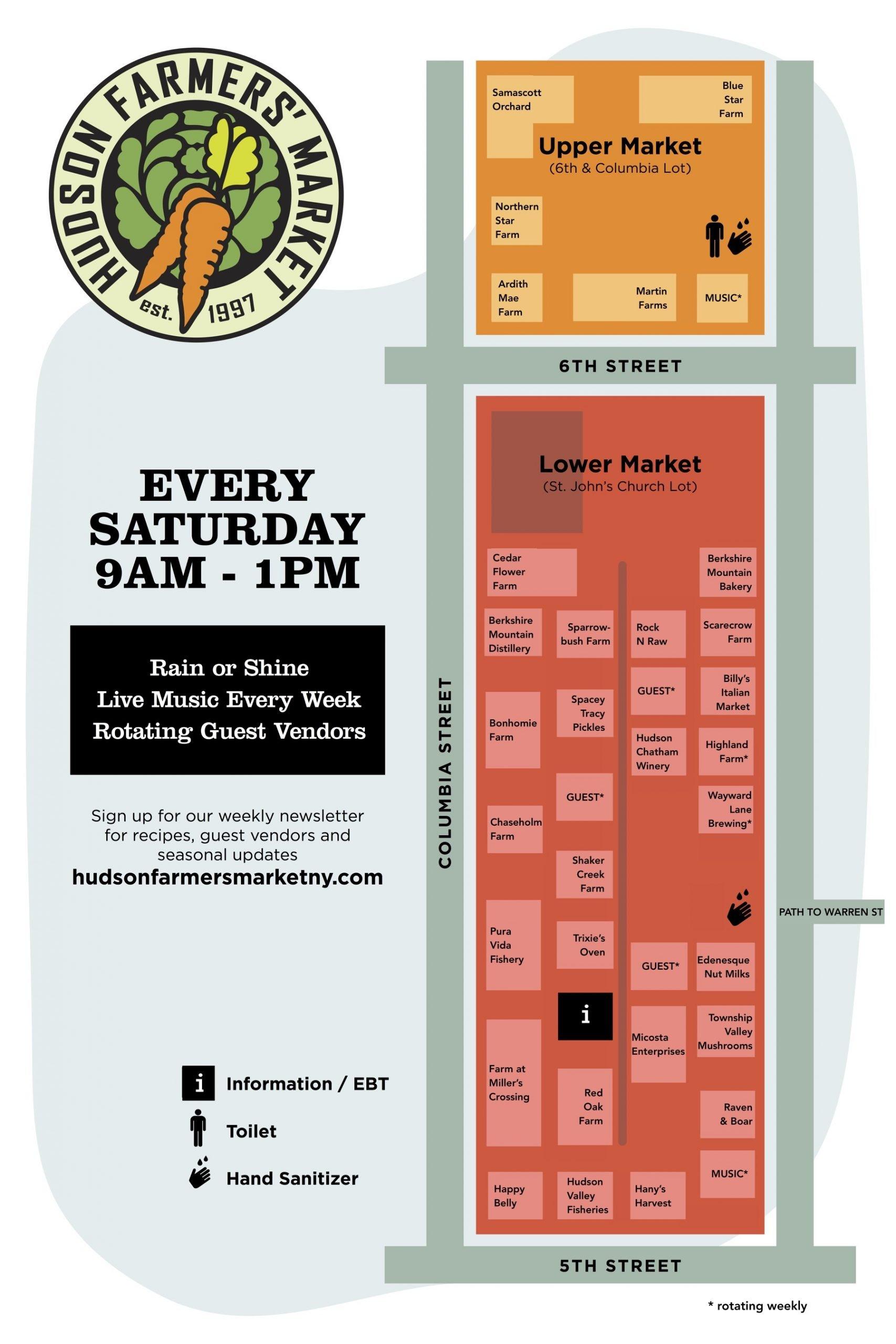 Hudson Farmers Market Map- Hudson, NY